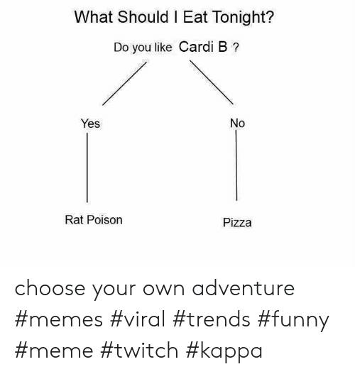 Funny, Meme, and Memes: What Should I Eat Tonight?  Do you like Cardi B ?  Yes  No  Rat Poison  Pizza choose your own adventure #memes #viral #trends #funny #meme #twitch #kappa