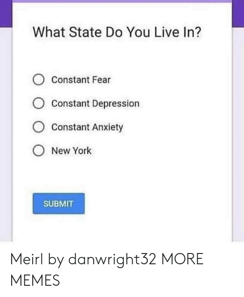 Dank, Memes, and New York: What State Do You Live In?  O Constant Fear  Constant Depression  O Constant Anxiety  O New York  SUBMIT Meirl by danwright32 MORE MEMES