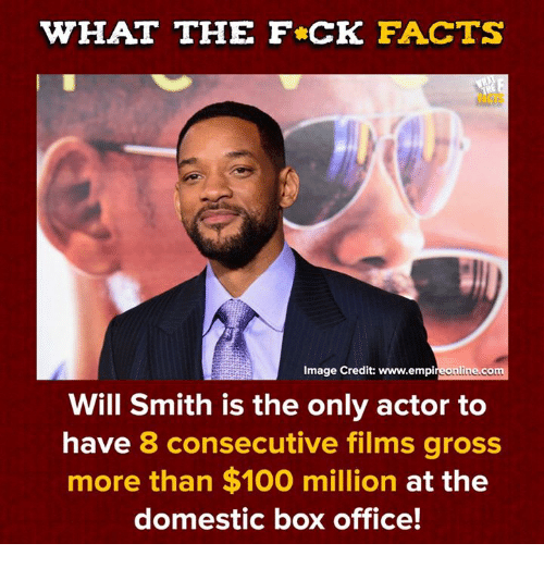 Anaconda, Dank, and Facts: WHAT THE F CK FACTS  NCTS  Image Credit: www.empireonline.com  Will Smith is the only actor to  have 8 consecutive films gross  more than $100 million at the  domestic box office!