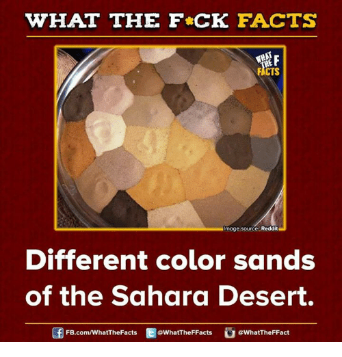 Dank, Facts, and Reddit: WHAT THE FCK FACTS  FACTS  Image Source Reddit  Different color sands  of the Sahara Desert.  FB.com/WhatThe Facts  @WhatTheFFacts  @WhatTheFFact