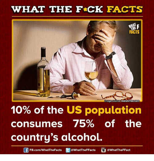 Dank, Alcohol, and Alcoholic: WHAT THE FCK FACTS  FACTS  mage source Indiatimes.com  10% of the US population  consumes 75% of the  country's alcohol.  FB.com/WhatThe Facts  @WhatTheFFacts  @WhatTheFFact