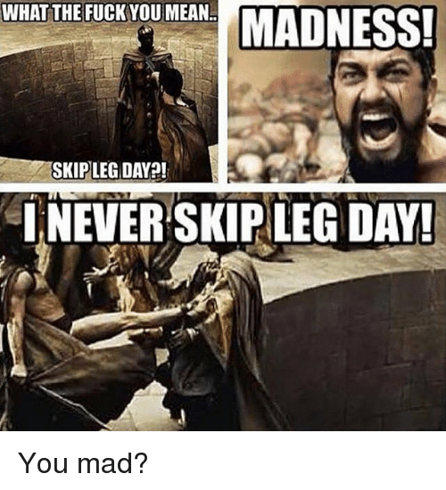Fuck You, Memes, and Fuck: WHAT THE FUCK YOU MEAN  SKIP LEG DAY!  INEVER SKIP LEG DAY! You mad?