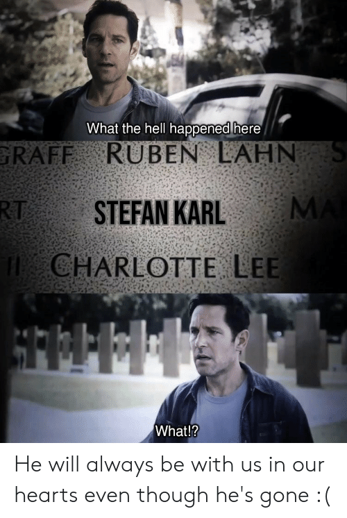 Charlotte, Hearts, and Dank Memes: What the hell happened here/  GRAFF RUBEN AHN  RTSTEFAN KARL  CHARLOTTE LEE  What!? He will always be with us in our hearts even though he's gone :(