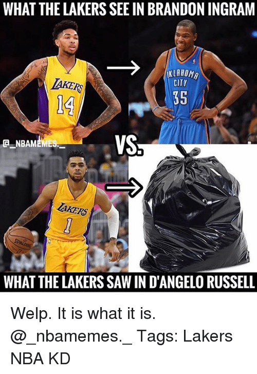 Los Angeles Lakers, Memes, and Nba: WHAT THE LAKERS SEE IN BRANDON INGRAM  KLAHOM  KLRHOM  IAKERS  CITY  35  VS  NBAMEMES  AKERS  WHAT THE LAKERS SAW IN D'ANGELO RUSSELL Welp. It is what it is. @_nbamemes._ Tags: Lakers NBA KD