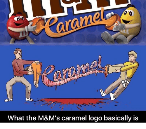 Logo, Caramel, and What: What the M&M's caramel logo basically is