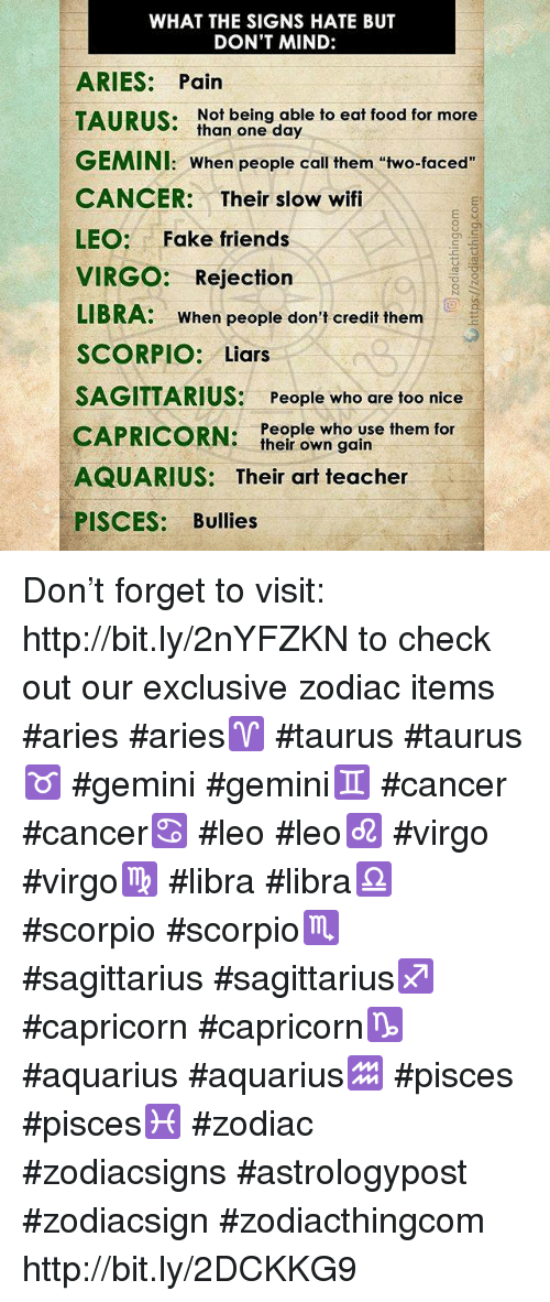 WHAT THE SIGNS HATE BUT DON'T MIND ARIES Pain TAIRILS Not