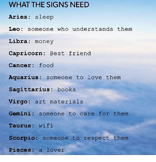 Best Friend, Books, and Food: WHAT THE SIGNS NEED  Aries sleep  Leo someone who understands them  Libra: money  Capricorn: Best friend  Cancer: food  Aquarius: someone to love them  Sagittarius: books  Virgo: art materials  Gemini: someone to care for them  Taurus: wifi  Scorpio: someone to respect them  Pisces: a lover