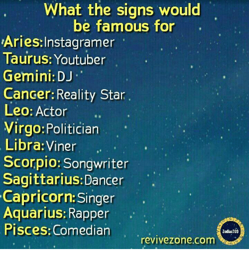 What the Signs Would Be Famous for AriesInstagramer Taurus Youtuber