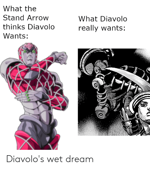 What The Stand Arrow What Diavolo Thinks Diavolo Really Wants Wants Diavolo S Wet Dream Arrow Meme On Me Me Download files and build them with your 3d printer, laser cutter, or cnc. what the stand arrow what diavolo