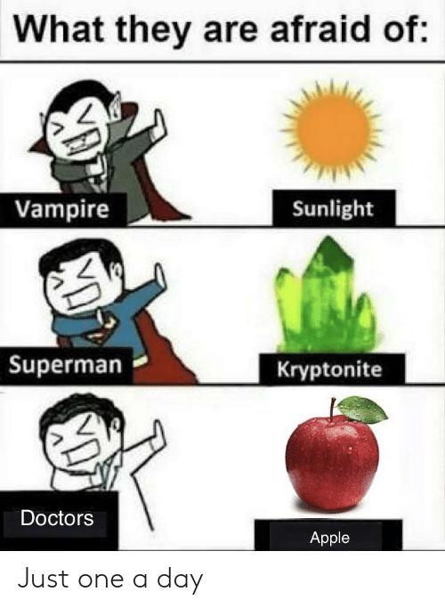 Apple, Reddit, and Superman: What they are afraid of:  Vampire  Sunlight  Superman  Kryptonite  Doctors  Apple  D Just one a day