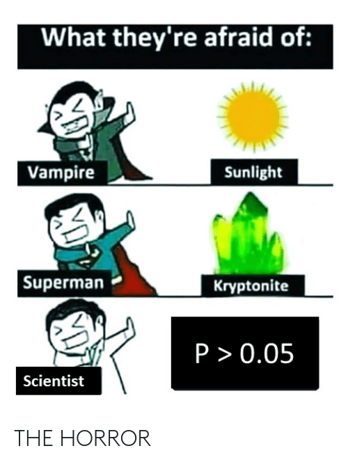 Superman, Science, and Vampire: What they're afraid of:  Vampire  Sunlight  Superman  Kryptonite  P > 0.05  Scientist  XD THE HORROR