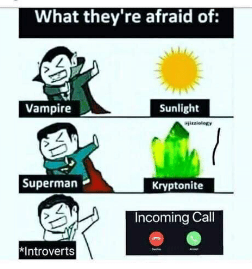 Superman, Vampire, and Kryptonite: What they're afraid of:  Vampire  Sunlight  Wizziology  Superman  Kryptonite  Incoming Call  *Introverts