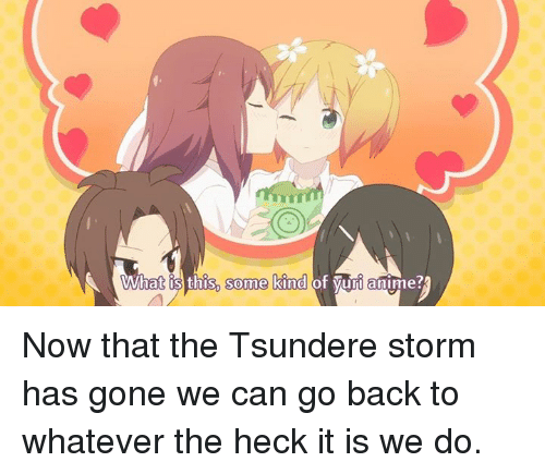 what this some kind of yuri anime now that the 4097464 what this some kind of yuri anime? now that the tsundere storm has
