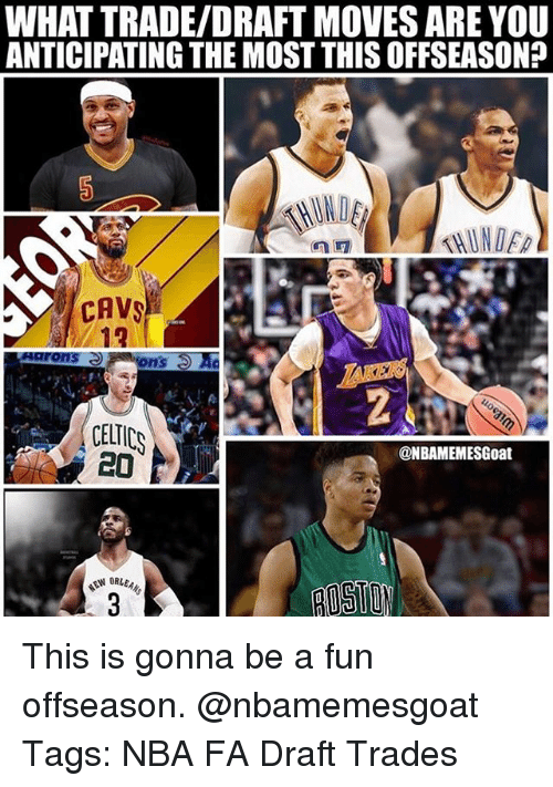 Cavs, Memes, and Nba: WHAT TRADE/DRAFT MOVES ARE YOU  ANTICIPATING THE MOST THISOFFSEASON?  CAVS  12  CELTICS  @NBAMEMESGoat  MEW ORue This is gonna be a fun offseason. @nbamemesgoat Tags: NBA FA Draft Trades