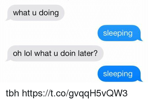 Lol, Tbh, and Sleeping: what u doing  sleeping  oh lol what u doin later?  sleeping tbh https://t.co/gvqqH5vQW3