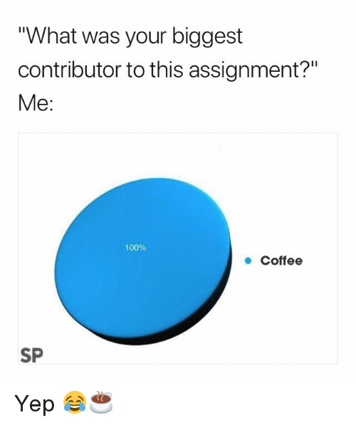 """Anaconda, Coffee, and What: What was your biggest  contributor to this assignment?""""  Me:  100%  ● Coffee  SP Yep 😂☕️"""