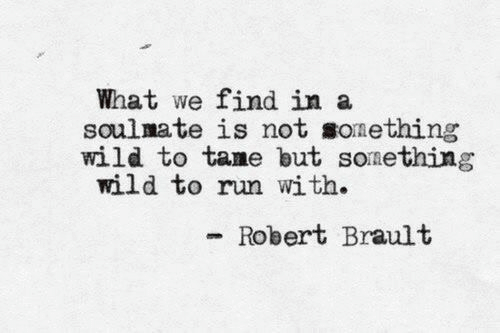 Run, Wild, and Soulmate: What we find in a  soulmate is not sonething  wild to tame but sonething  wild to run with.  Robert Brault