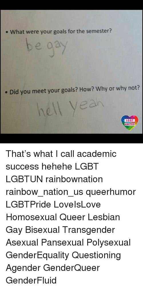 Goals, Lesbians, and Lgbt: . What were your goals for the semester?  . Did you meet your goals? How? Why or why not?  hell yeah  LGBT  LGBT  UNITED That's what I call academic success hehehe LGBT LGBTUN rainbownation rainbow_nation_us queerhumor LGBTPride LoveIsLove Homosexual Queer Lesbian Gay Bisexual Transgender Asexual Pansexual Polysexual GenderEquality Questioning Agender GenderQueer GenderFluid