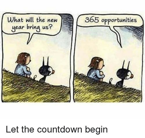 Countdown, New Year's, and Will: What will the new  year bring us?  365 opportunities Let the countdown begin