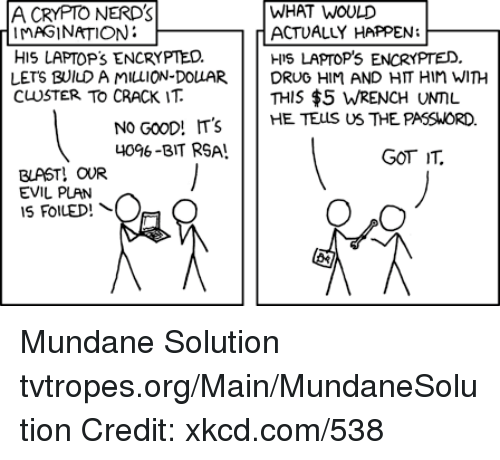 Memes, 🤖, and Xkcd: WHAT WOULD  A CRYPTO NERD's  MAGINATION  r ACTUALLY HAPPEN  HIS LAPTOP's ENCRYPTED.  HIS LAPTOP's ENCRYPTED.  LETS BUlu AMILLION DOLLAR.  DRUG HIM AND HIT Hin WITH  CUSTER TO CRACK IT  THIS $5 WRENCH UNML.  NO GooD! T's  HE TELS US THE PASSWORD.  40%-BIT RSA!  GOT TL.  BLAST! OUR  EVIL PLAN  O,O  IS FOILED! Mundane Solution tvtropes.org/Main/MundaneSolution Credit: xkcd.com/538
