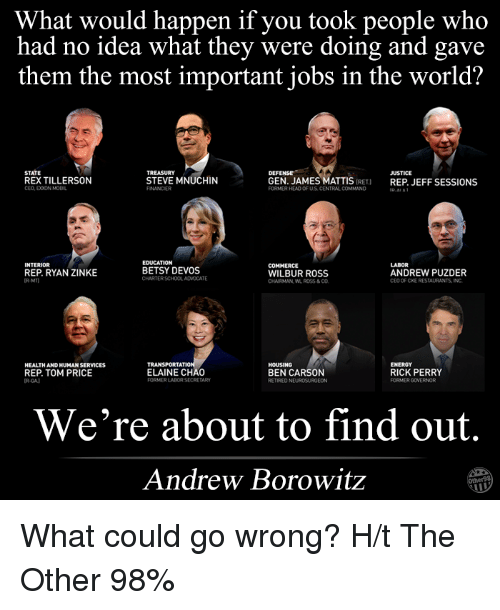Ben Carson, Memes, and Restaurants: What would happen if you took people who  had no idea what they were doing and gave  them the most important jobs in the world?  DEFENSE  STATE  JUSTICE  REXTILLERSON  STEVE MNUCHIN  GEN. JAMES MATTIS  IRET)  REP JEFF SESSIONS  CEO EXXONMOBIL  FORMERHEAD OF US CENTRAL COMMAND  EDUCATION  INTERIOR  LABOR  COMMERCE  BETSY DEVOS  ANDREW PUZDER  REP. RYAN ZINKE  WILBUR ROSS  CHARTERSCHOOLADVOCATE  CEO OF CKE RESTAURANTS INC  CHAIRMAN WL ROSS& CO  ATI  HOUSING  ENERGY  HEALTHANDHUMAN SERVICES  REP. TOM PRICE  ELAINE CHAO  BEN CARSON  RICK PERRY  FORMERLADORSECRETARY  FORMER GOVERNOR  RETIRED NE  We're about to find out.  Andrew Borowitz What could go wrong?  H/t The Other 98%