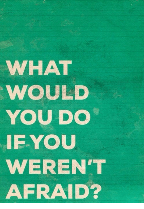 You, What, and Afraid: WHAT  WOULD  YOU DO  IEYOU  WEREN'T  AFRAID?