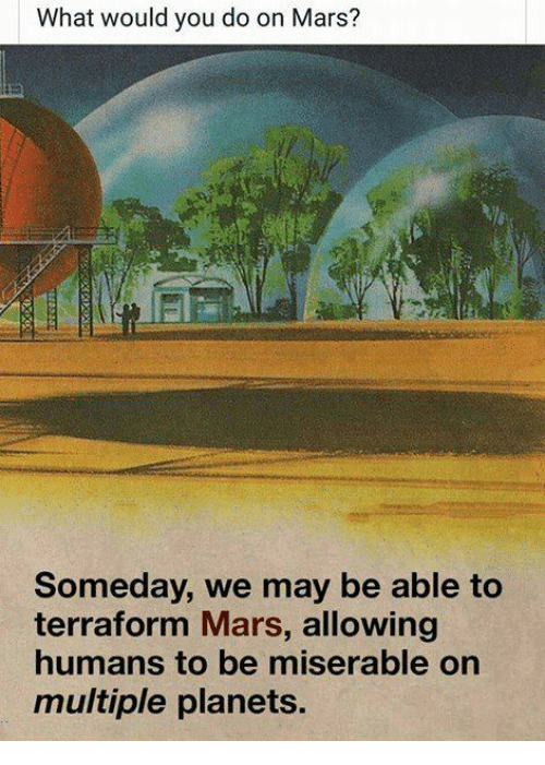 Memes, Mars, and Planets: What would you do on Mars?  Someday, we may be able to  terraform Mars, allowing  humans to be miserable on  multiple planets.