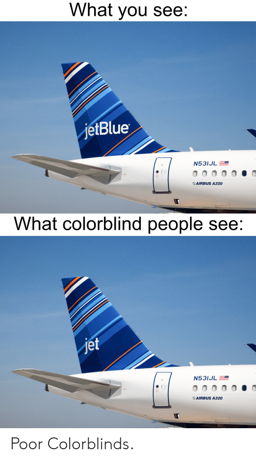 What You See jetBlue N53IJL AIRBUS A320 What Colorblind