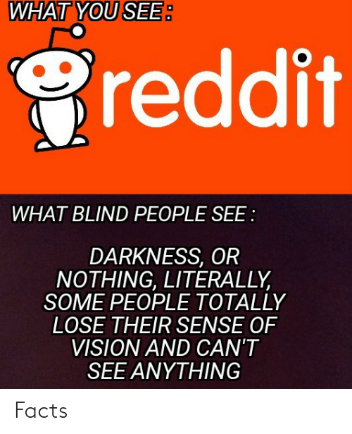 WHAT YOU SEE Reddit WHAT BLIND PEOPLE SEE DARKNESS OR