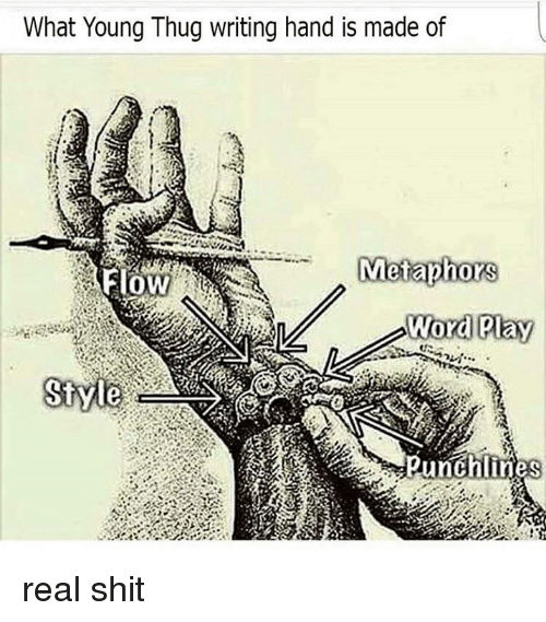 what young thug writing hand is made of metaphors flow word pay