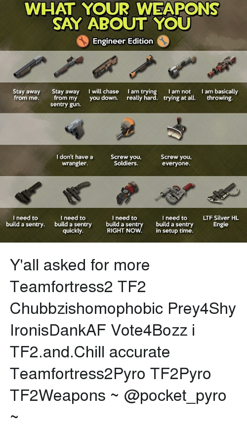 WHAT YOUR WEAPONS SAY ABOUT YOU Engineer Edition Stay Away