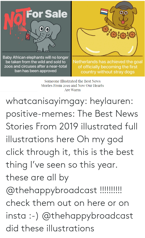 Click, God, and Memes: whatcanisayimgay:  heylauren: positive-memes:    The Best News Stories From 2019 illustrated full illustrations here  Oh my god click through it, this is the best thing I've seen so this year.  these are all by @thehappybroadcast !!!!!!!!!! check them out on here or on insta :-)    @thehappybroadcast did these illustrations