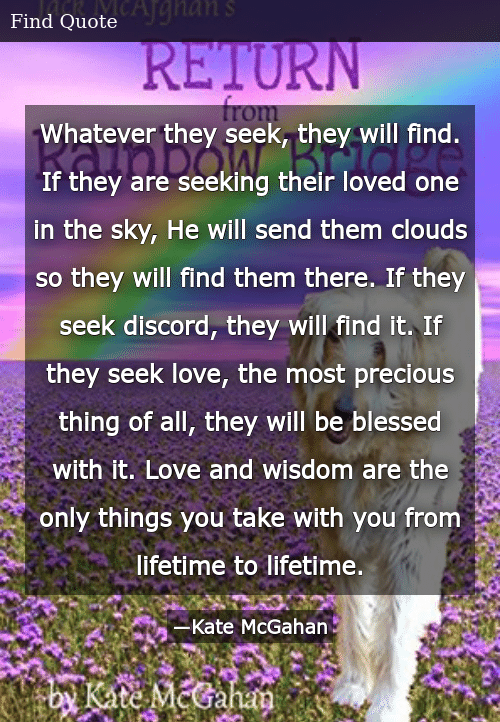 Whatever They Seek They Will Find if They Are Seeking Their Loved