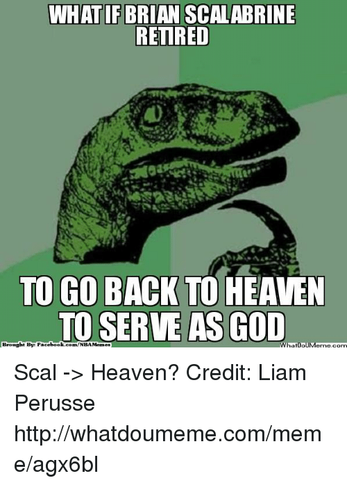 Heaven, Meme, and Nba: WHATIF BRIAN SCALABRINE  RETIRED  TO GO BACK TO HEAVEN  TO SERVE AS COD  Brought By Scal -> Heaven? Credit: Liam Perusse  http://whatdoumeme.com/meme/agx6bl