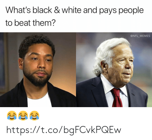Football, Memes, and Nfl: What's black & white and pays people  to beat them?  @NFL_MEMES 😂😂😂 https://t.co/bgFCvkPQEw