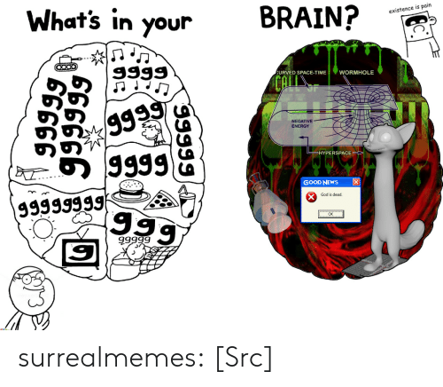 Energy, God, and Memes: What's in your  BRAIN?  existence is pain  URVED SPACE-TIME  WORMHOLE  NEGATIVE  ENERGY  のの  HYPERSPACE  GOOD NEWS  God is dead.  Ok  9999g surrealmemes:  [Src]