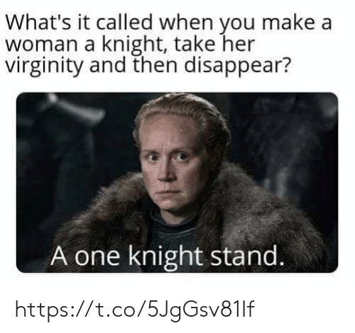 Virginity, Her, and Make A: What's it called when you make a  woman a knight, take her  virginity and then disappear?  A one knight stand. https://t.co/5JgGsv81If