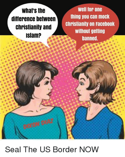 Facebook, Islam, and Seal: What's the  difference between  christianity and  well for one  thing you can mock  Christianity on Facebook  without getting  banned.  islam?, Seal The US Border NOW