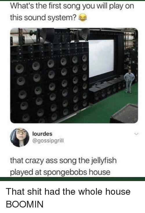 Ass, Crazy, and Funny: What's the first song you will play on  this sound system?  lourdes  @gossipgrill  that crazy ass song the jellyfish  played at spongebobs house That shit had the whole house BOOMIN