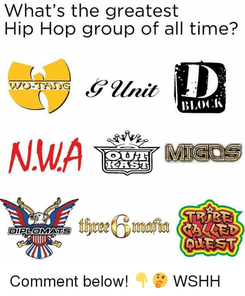 Memes, Migos, and N.W.A.: What's the greatest  Hip Hop group of all time?  ]D  BLOCK  NWA MIGOS  DIPLOMATS Comment below! 👇🤔 WSHH