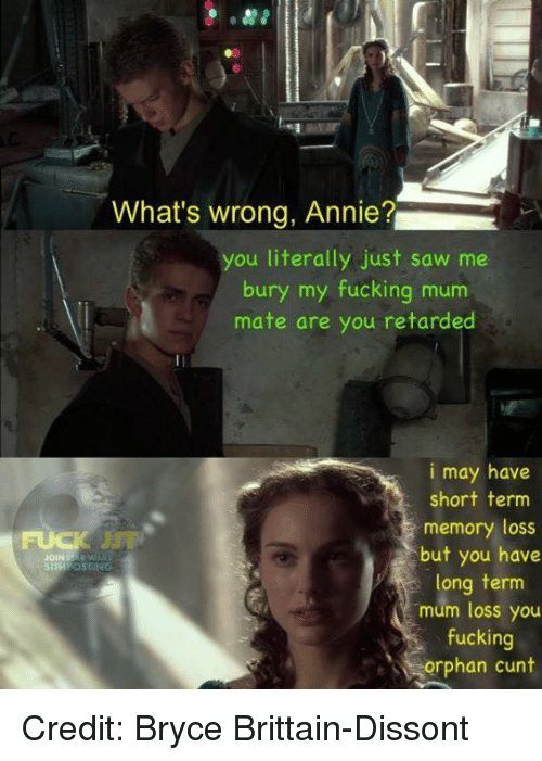 Retarded, Sith, and Annie: What's wrong, Annie?  you literally just saw me  bury my fucking m  mate are you retarded  i may have  short term  memory loss  but you have  SITH OSTING  long term  mum loss you  fucking  orphan cunt Credit: Bryce Brittain-Dissont