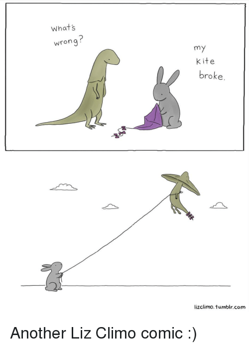 Tumblr, Another, and Com: Whats  wrong  my  Kite  broke  lizclimo.tumblr.com Another Liz Climo comic :)