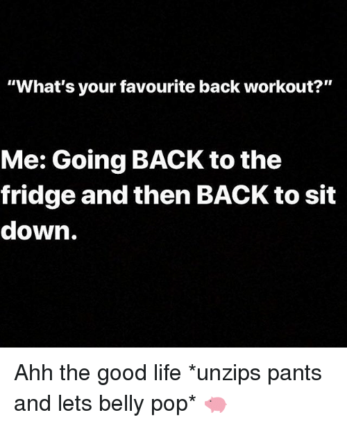 """Gym, Life, and Pop: """"What's your favourite back workout?""""  Me: Going BACK to the  fridge and then BACK to sit  down. Ahh the good life *unzips pants and lets belly pop* 🐖"""
