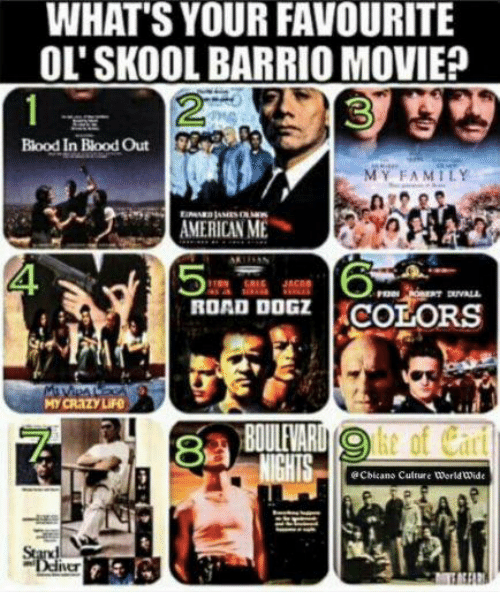 What's your favourite ol' skool barrio movie? Blood in bood out.