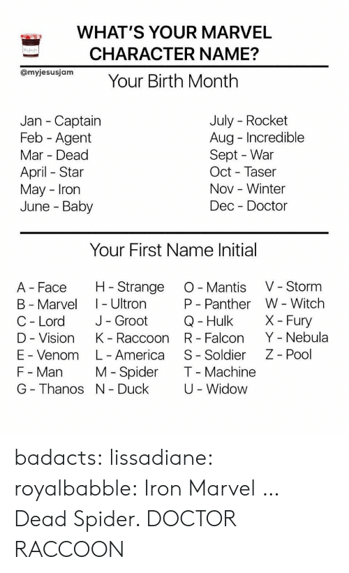 America, Doctor, and Spider: WHAT'S YOUR MARVEL  CHARACTER NAME?  OmyjesusjamYour Birth Month  July - Rocket  Aug Incredible  Sept - War  Oct - Taser  Nov -Winter  Dec Doctor  Jan - Captain  Feb - Agent  Mar Dead  April Star  May Irorn  June - Baby  Your First Name Initial  A Face H Strange O Mantis V - Storm  B - Marvel I - Ultron  C - Lord J- Groot  D - Vision K Raccoon R Falcon Y - Nebula  E - Venom L- America S- Soldier Z - Pool  F - Man M Spider T Machine  G - Thanos N Duck  W - Witch  X- Fury  P - Panther  Q- Hulk  U -Widow badacts:  lissadiane: royalbabble: Iron Marvel  … Dead Spider.   DOCTOR RACCOON