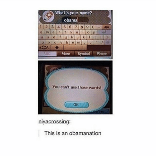Memes, 🤖, and Name: What's your name?  1 2 3 4 5 6 7 8 i 9 0  More Symbol PRone  You can't use those words!  OK!  niyacrossing:  This is an obamanation