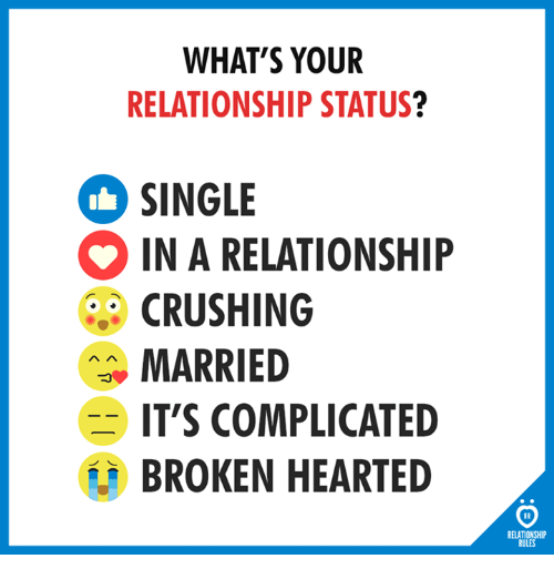 Relationship Status, In a Relationship, and Single: WHAT'S YOUR  RELATIONSHIP STATUS?  SINGLE  IN A RELATIONSHIP  CRUSHING  MARRIED  IT'S COMPLICATED  BROKEN HEARTED  RELATIONSHIP  RULES