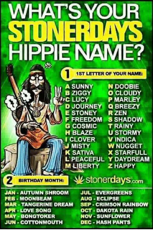 Whats Your Stoner Days Hippie Name 1st Letter Of Your Name A Sunny
