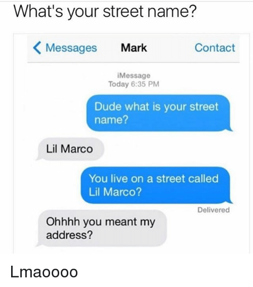 Dude, Memes, and Live: What's your street name?  Messages Mark  Contact  iMessage  Today 6:35 PM  Dude what is your street  name?  Lil Marco  You live on a street called  Lil Marco?  Delivered  Ohhhh you meant my  address? Lmaoooo
