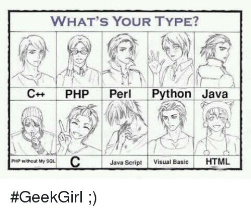 WHAT'S YOUR TYPE? PHP Perl Python Java PHP Without My SOL Java